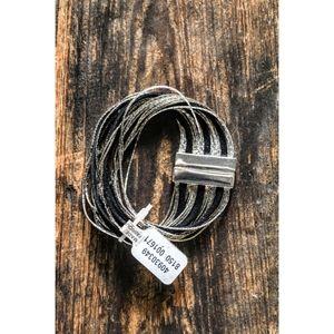 Free People Silver & Black Layered Bracelet